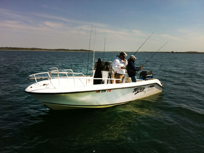 Shot of the boat teezer 77 guiding service for Ri fishing charters